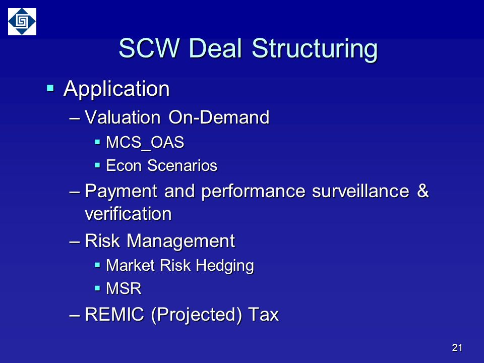 SCW Deal Structuring Application Valuation On-Demand