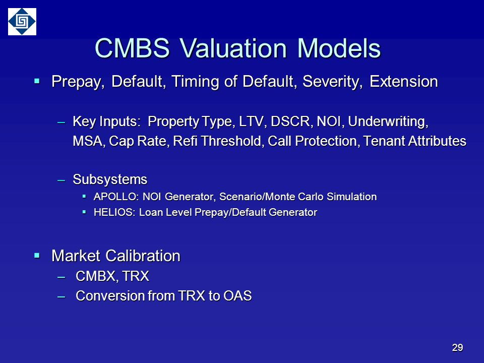 CMBS Valuation Models Prepay, Default, Timing of Default, Severity, Extension. Key Inputs: Property Type, LTV, DSCR, NOI, Underwriting,