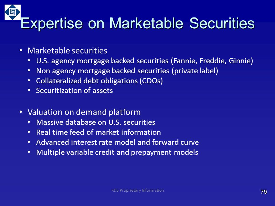 Expertise on Marketable Securities