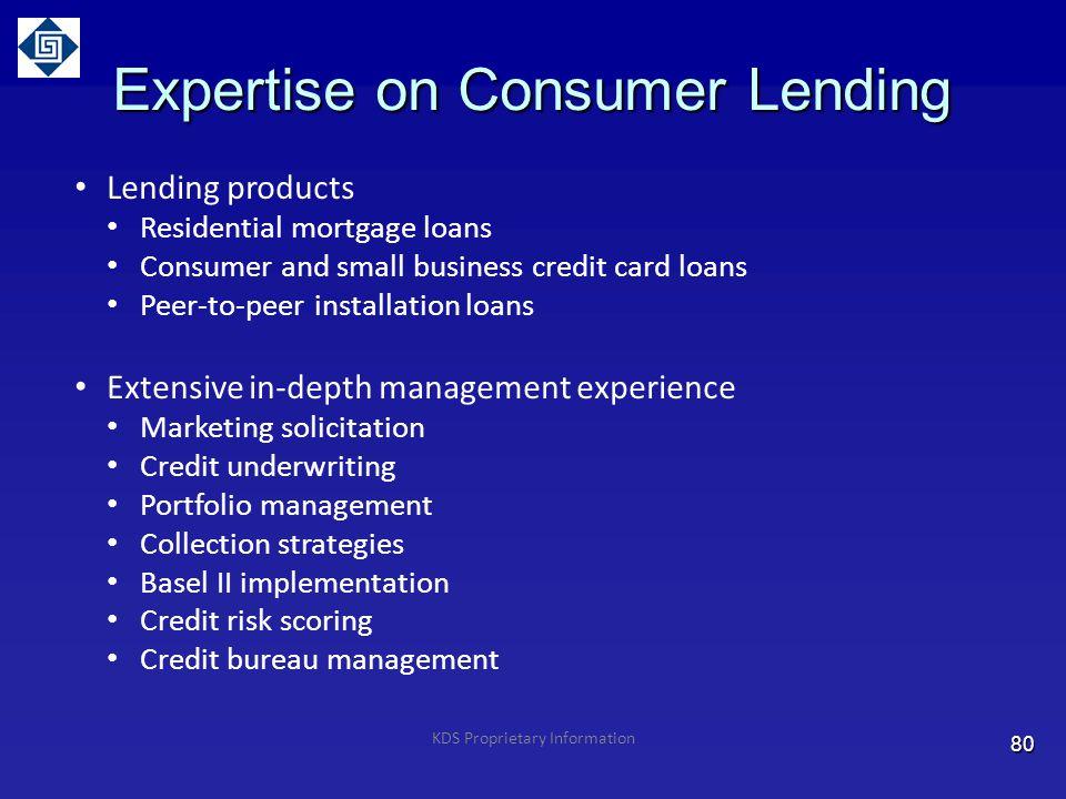 Expertise on Consumer Lending