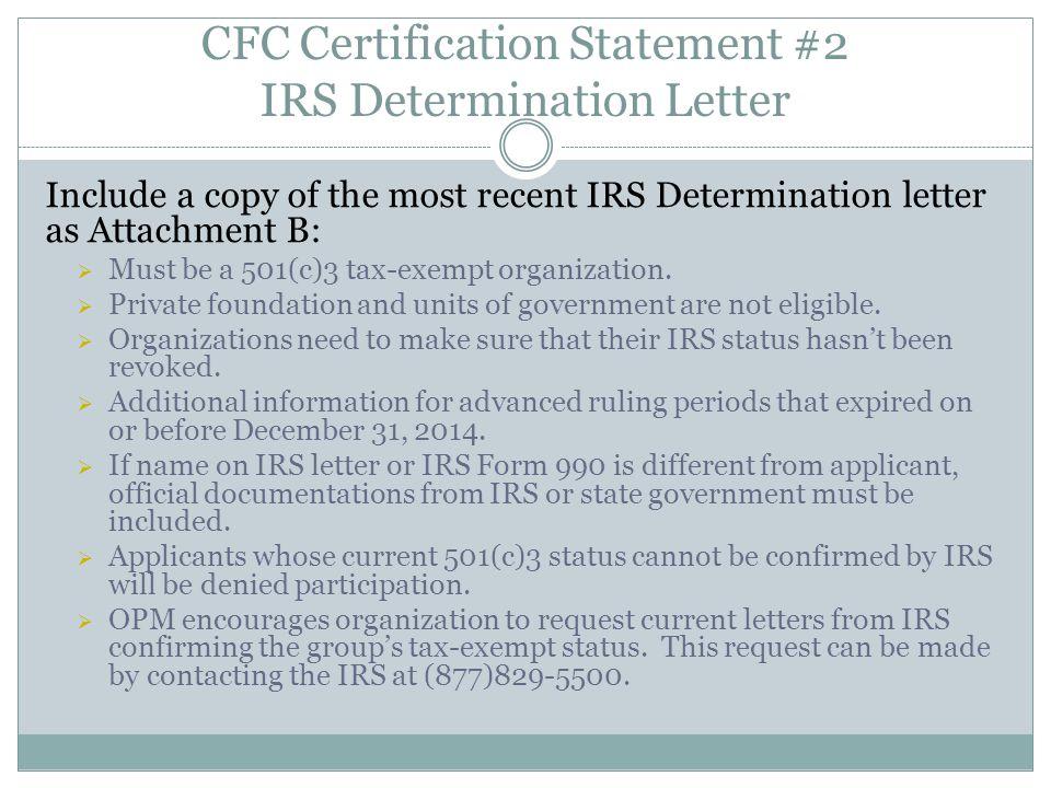 CFC Certification Statement #2 IRS Determination Letter