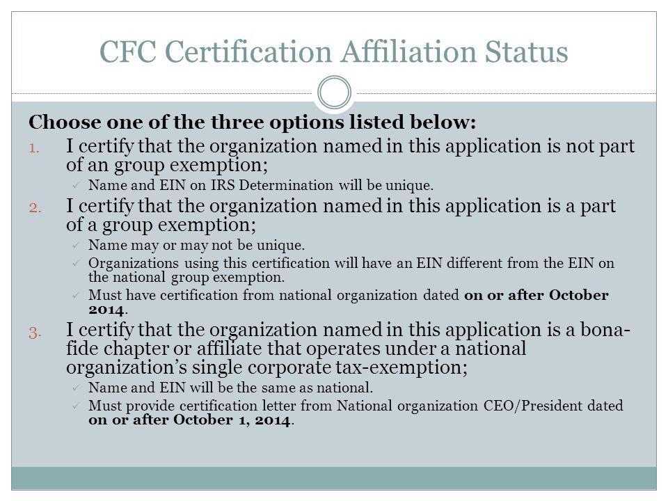 CFC Certification Affiliation Status
