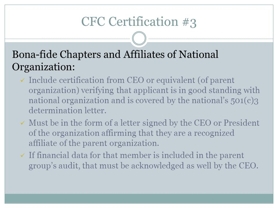 CFC Certification #3 Bona-fide Chapters and Affiliates of National Organization: