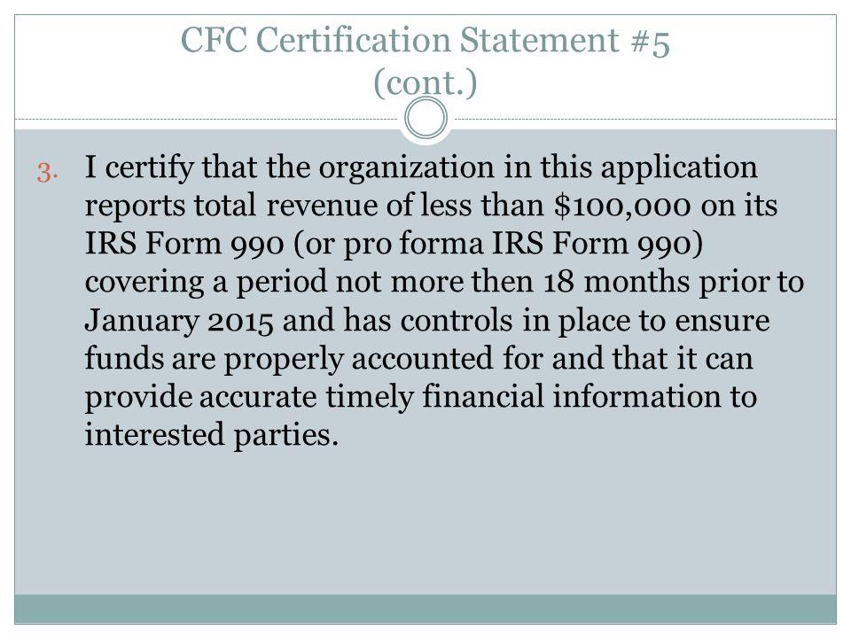 CFC Certification Statement #5 (cont.)