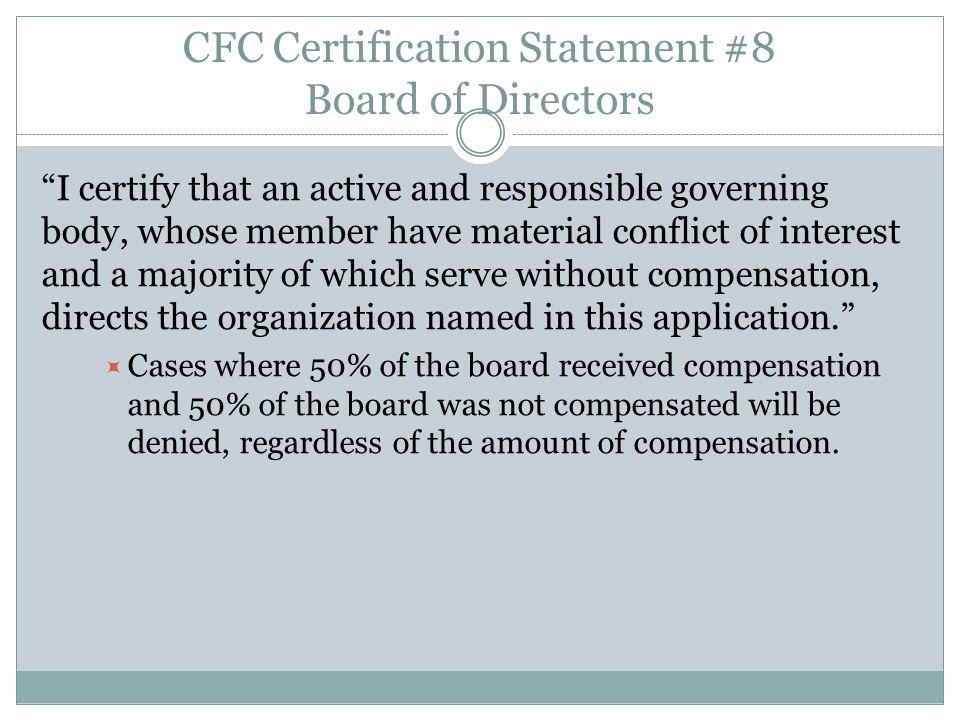 CFC Certification Statement #8 Board of Directors