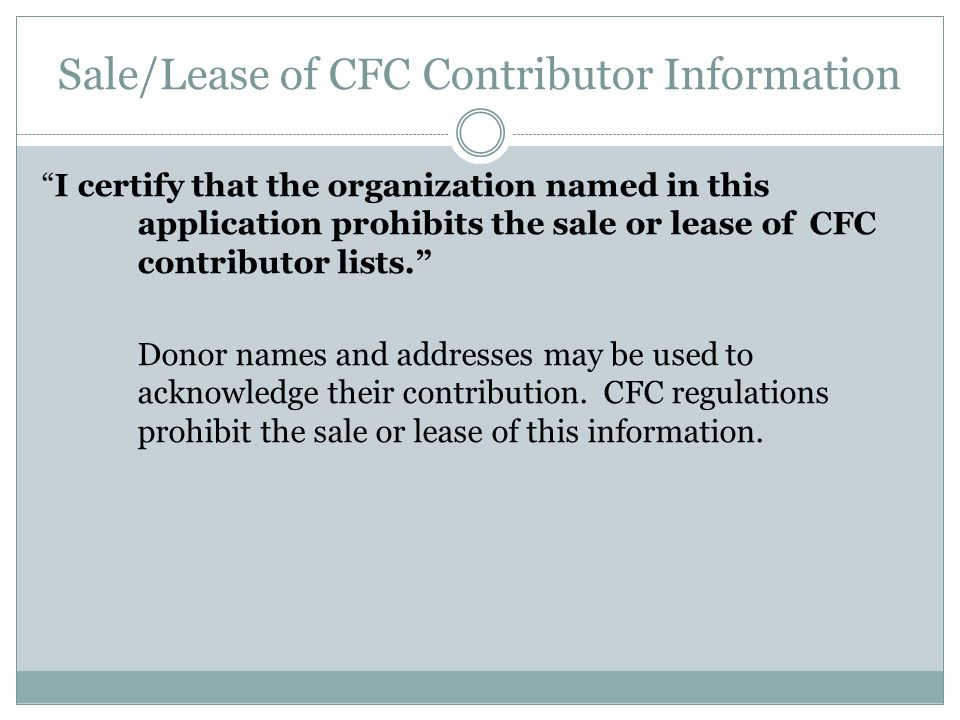 Sale/Lease of CFC Contributor Information