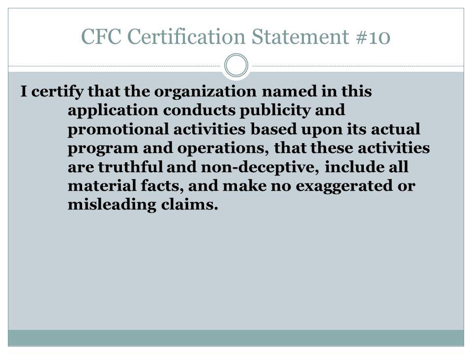 CFC Certification Statement #10