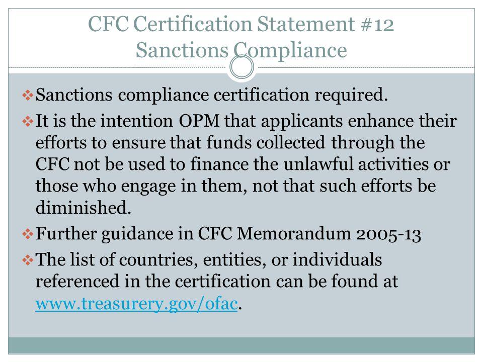 CFC Certification Statement #12 Sanctions Compliance