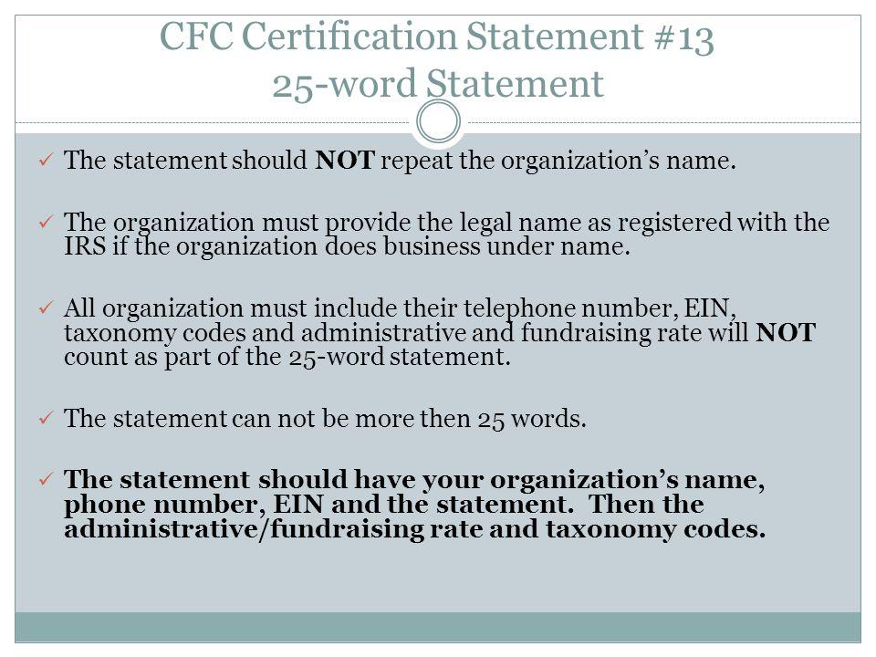 CFC Certification Statement #13 25-word Statement