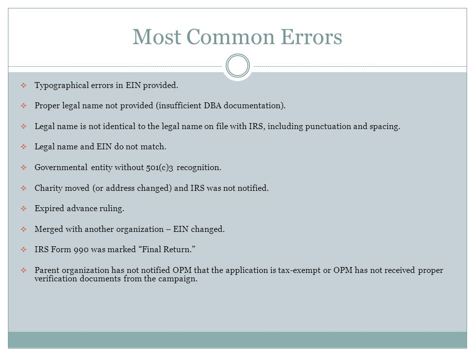 Most Common Errors Typographical errors in EIN provided.