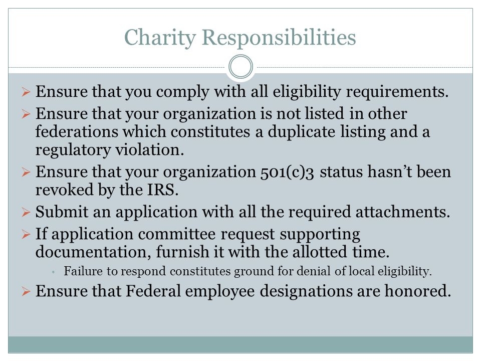 Charity Responsibilities