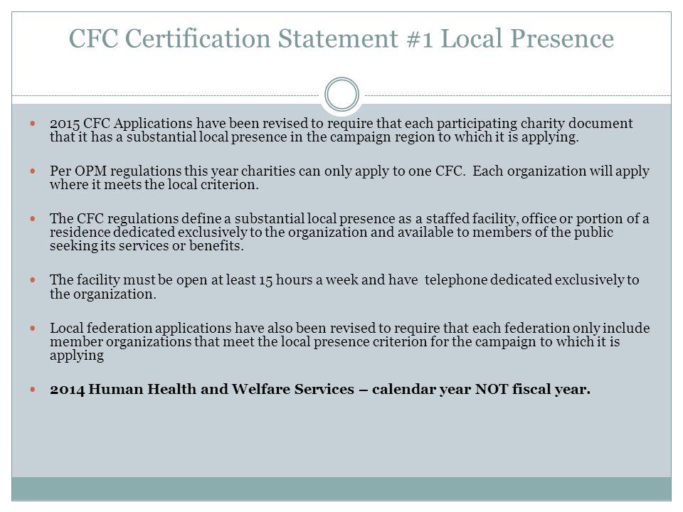 CFC Certification Statement #1 Local Presence
