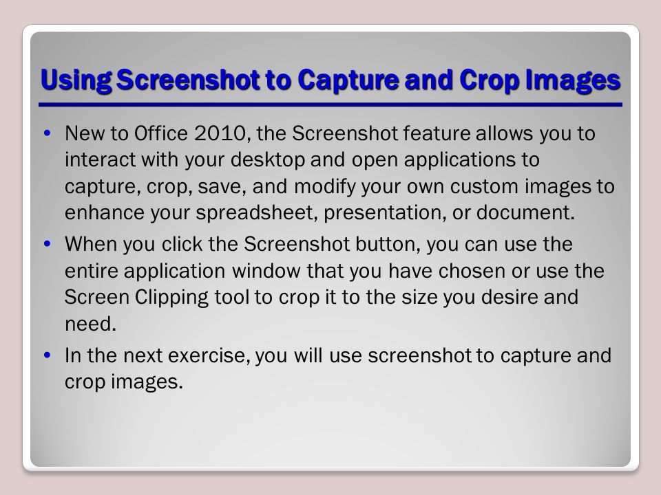 Using Screenshot to Capture and Crop Images