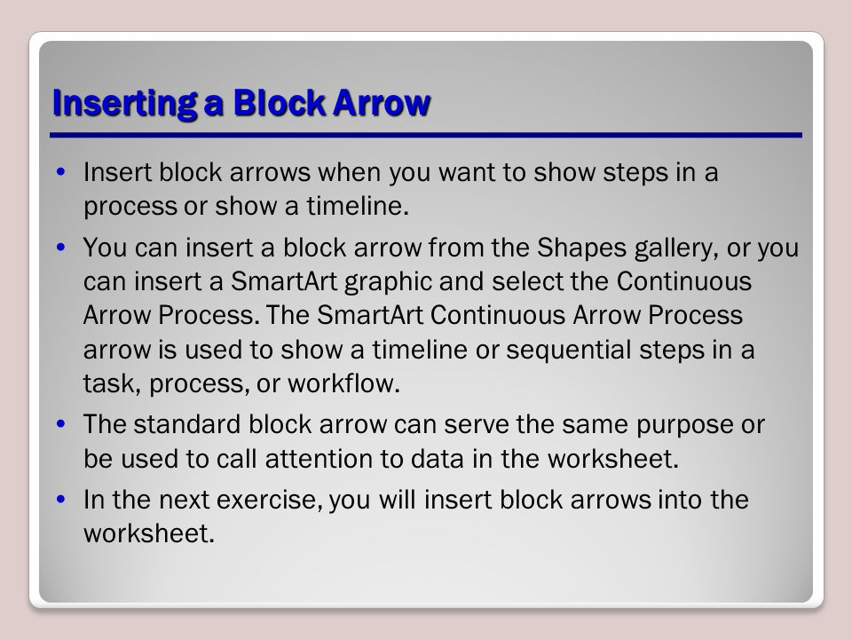 Inserting a Block Arrow