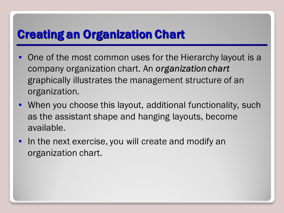 Creating an Organization Chart