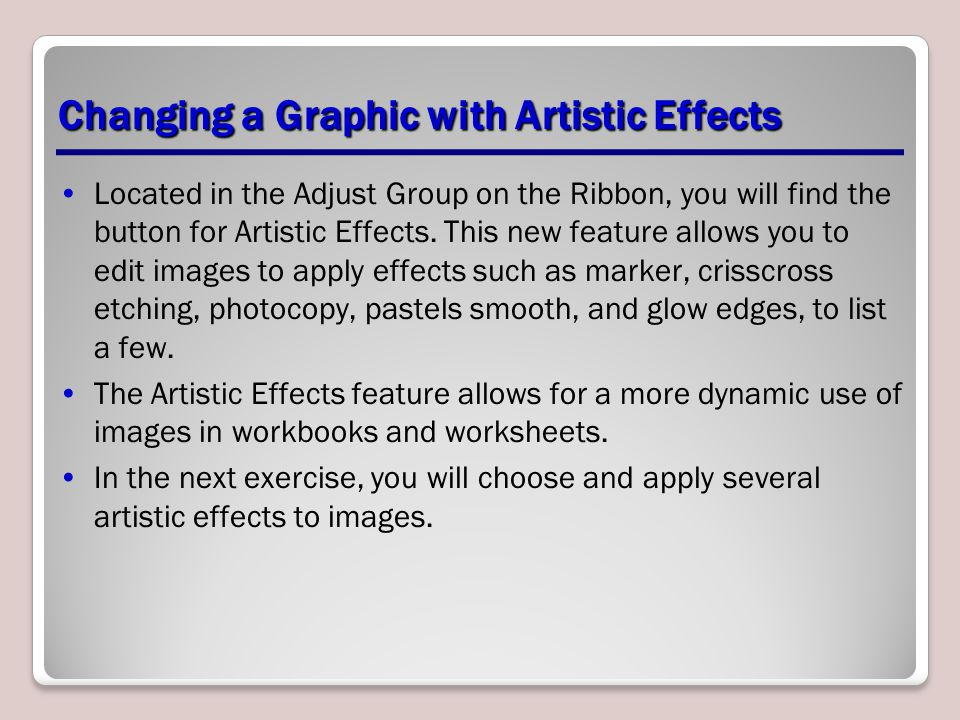 Changing a Graphic with Artistic Effects