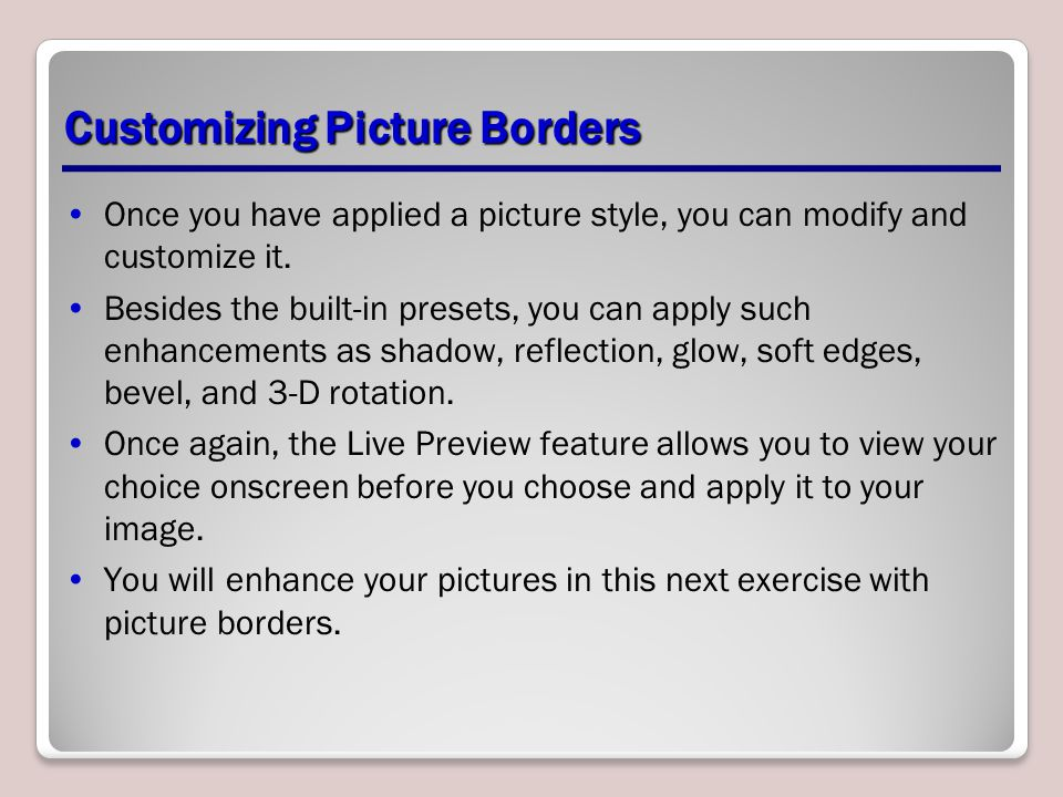 Customizing Picture Borders
