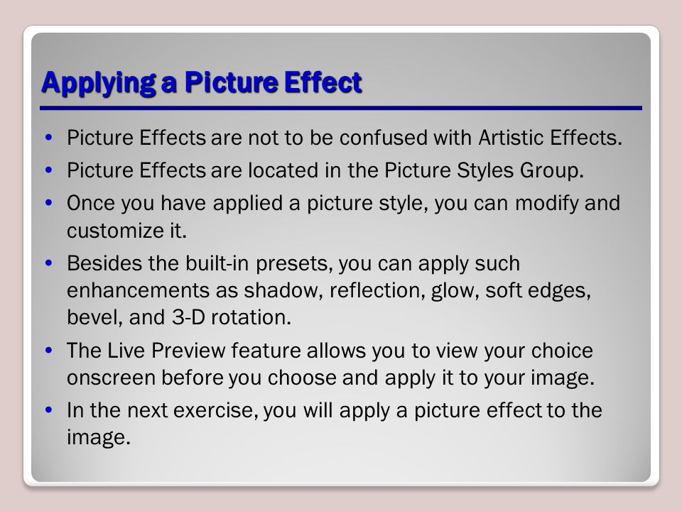 Applying a Picture Effect