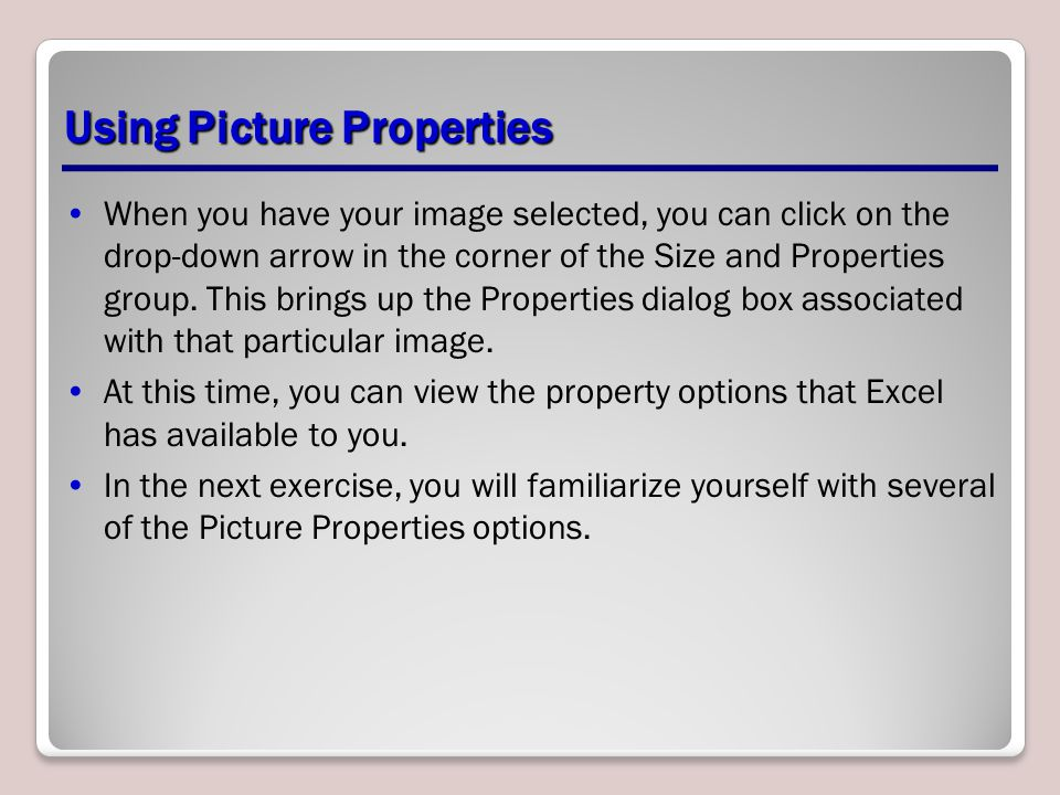 Using Picture Properties