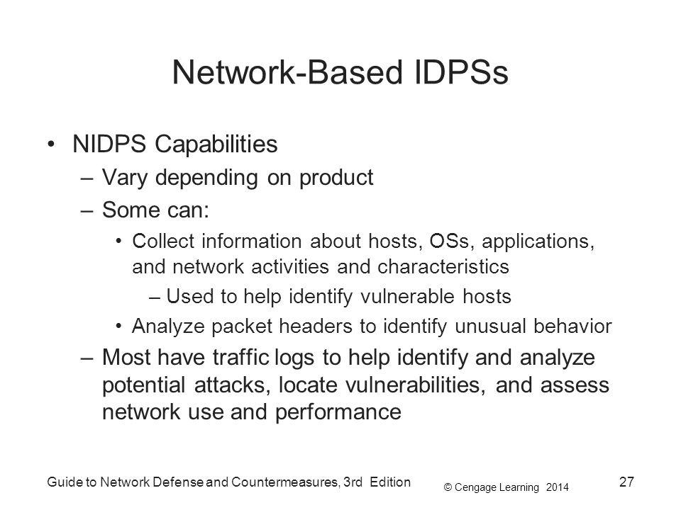 Network-Based IDPSs NIDPS Capabilities Vary depending on product