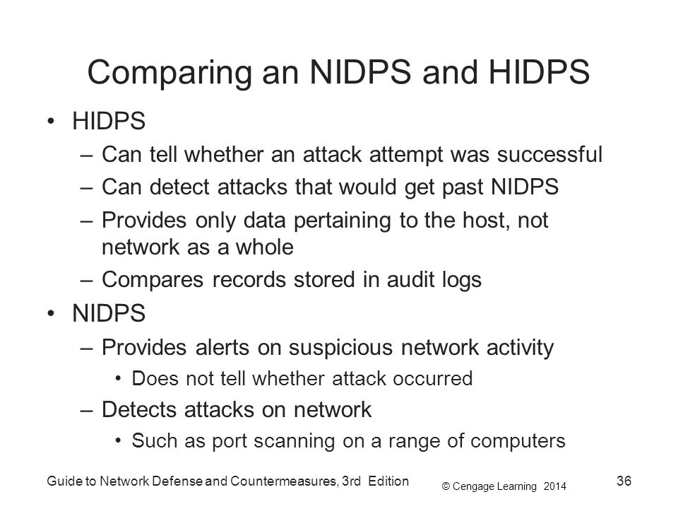Comparing an NIDPS and HIDPS