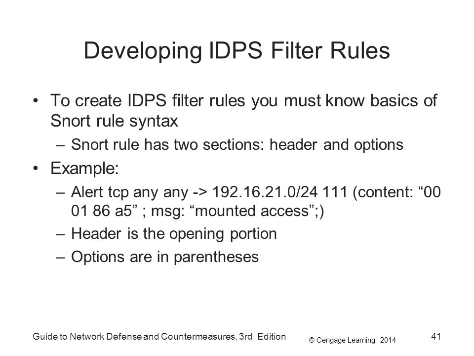 Developing IDPS Filter Rules