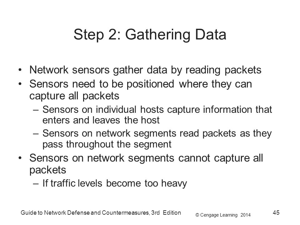 Step 2: Gathering Data Network sensors gather data by reading packets