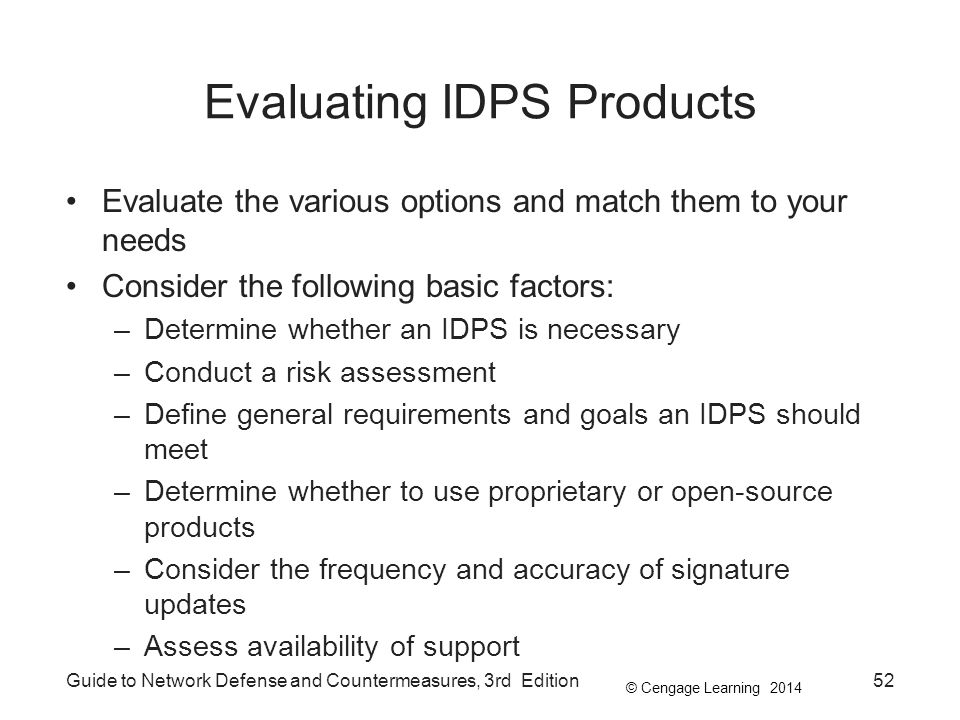 Evaluating IDPS Products