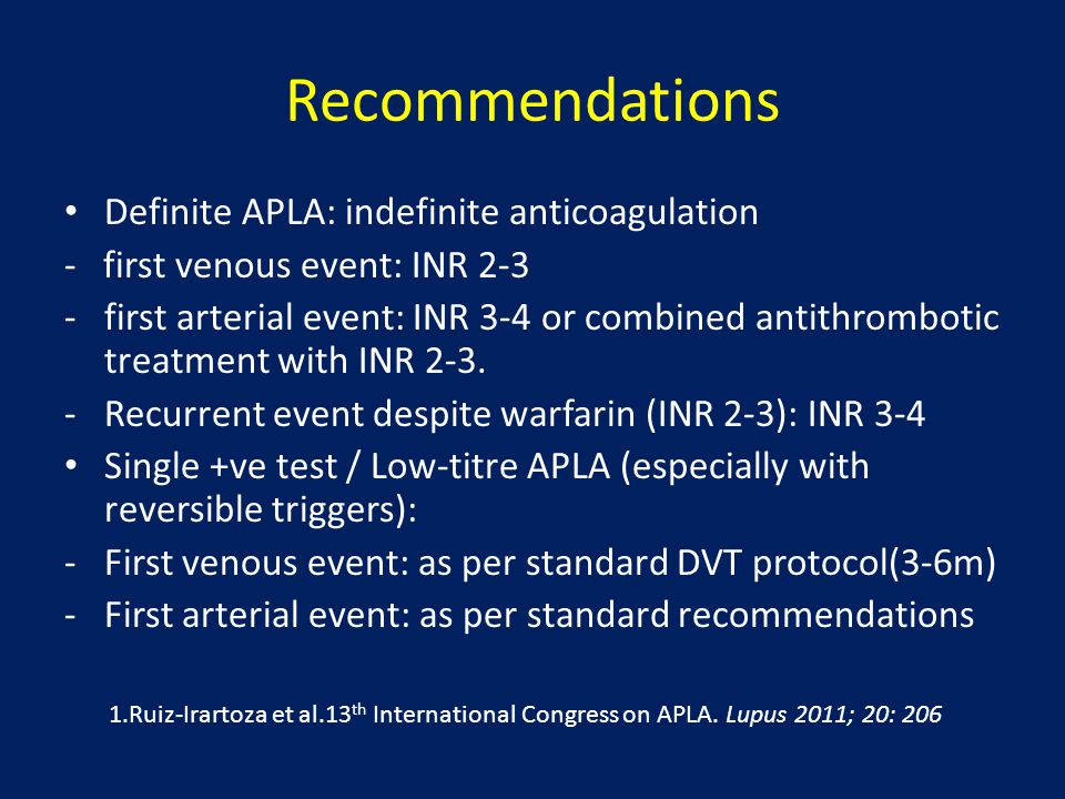 Recommendations Definite APLA: indefinite anticoagulation