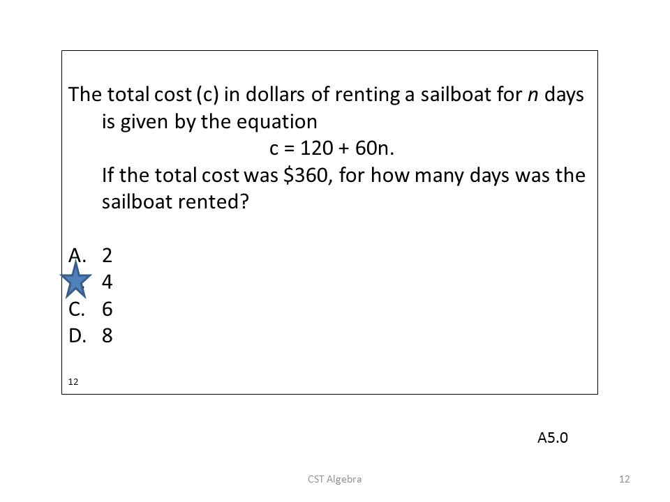 If the total cost was $360, for how many days was the sailboat rented