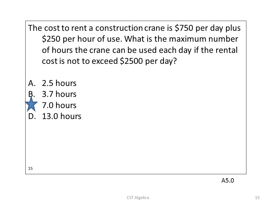 The cost to rent a construction crane is $750 per day plus $250 per hour of use. What is the maximum number of hours the crane can be used each day if the rental cost is not to exceed $2500 per day