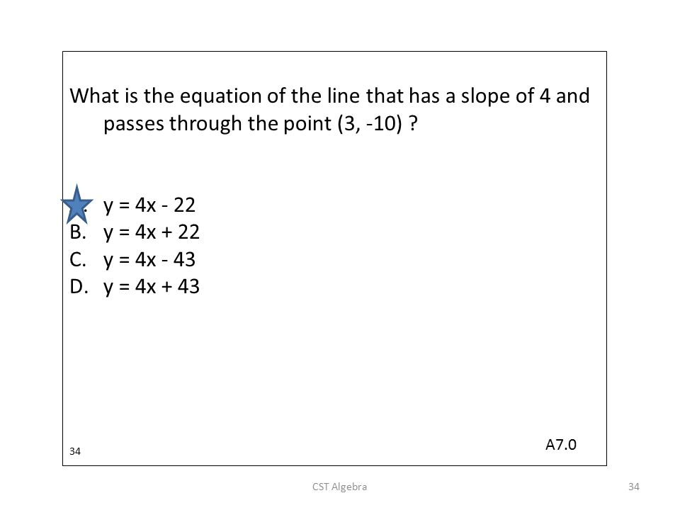 What is the equation of the line that has a slope of 4 and passes through the point (3, -10)