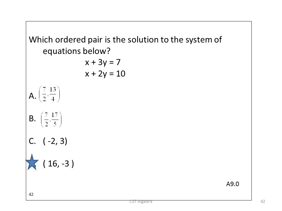 Which ordered pair is the solution to the system of equations below