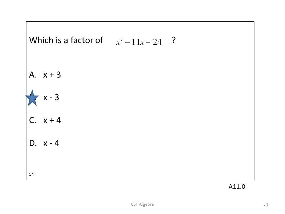 Which is a factor of A. x + 3 B. x - 3 C. x + 4 D. x - 4 A11.0 54