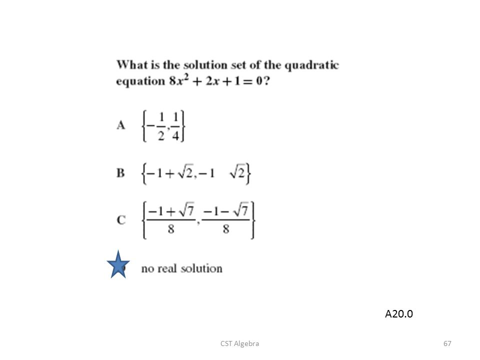 A20.0 CST Algebra