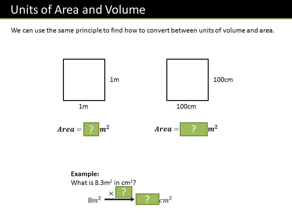Units of Area and Volume