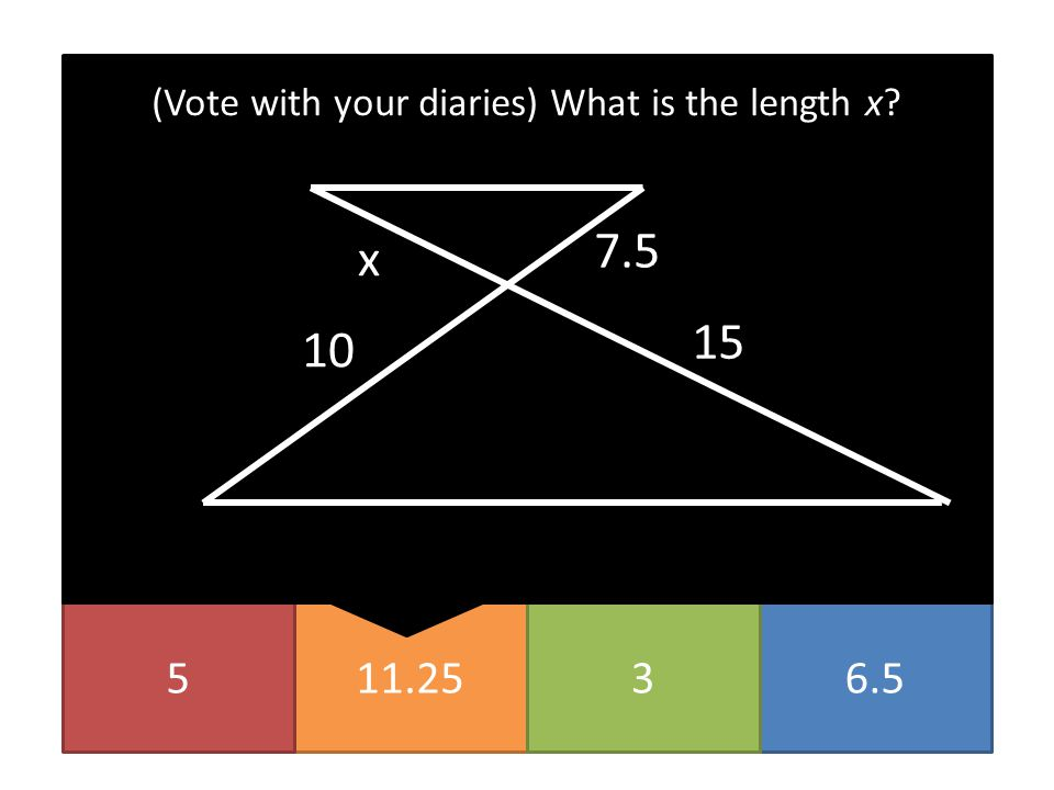 (Vote with your diaries) What is the length x