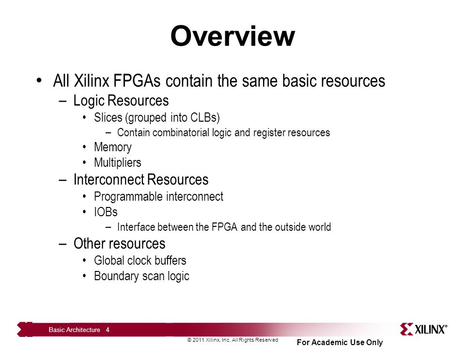 Overview All Xilinx FPGAs contain the same basic resources