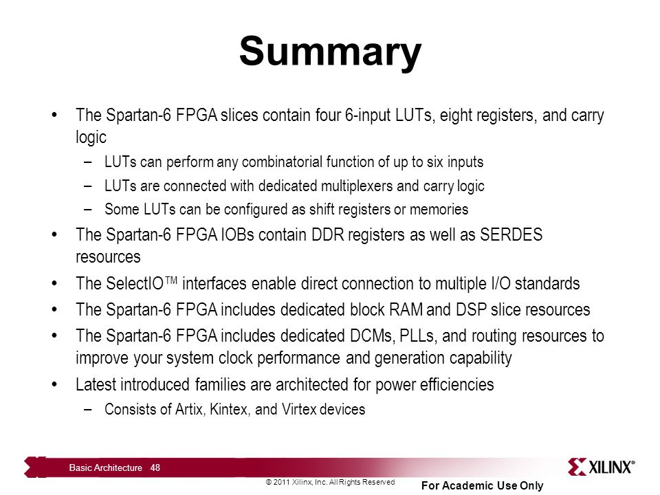 Summary The Spartan-6 FPGA slices contain four 6-input LUTs, eight registers, and carry logic.