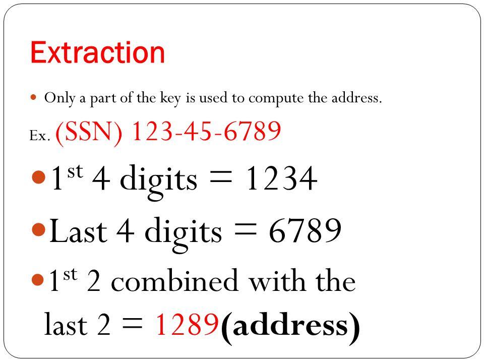 1st 4 digits = 1234 Last 4 digits = 6789