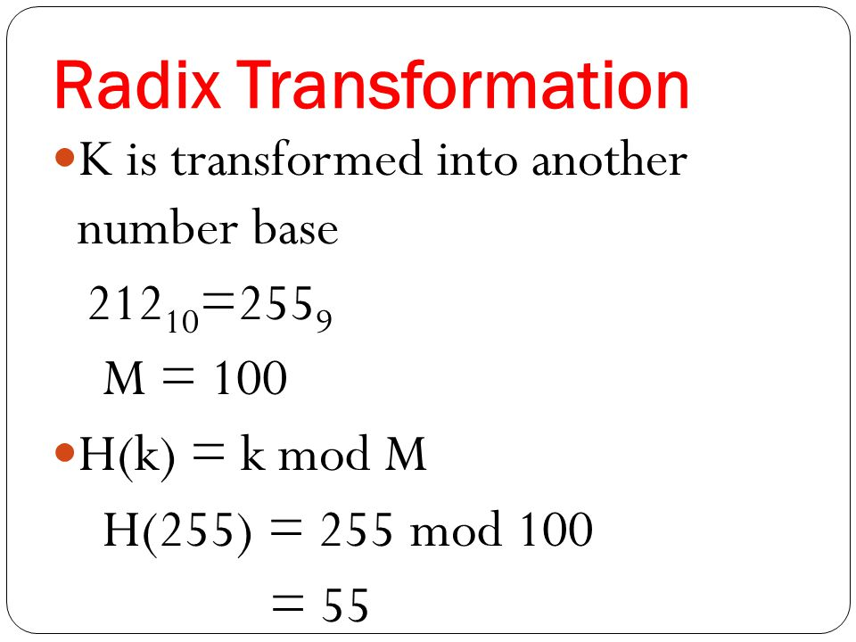 Radix Transformation K is transformed into another number base M = 100