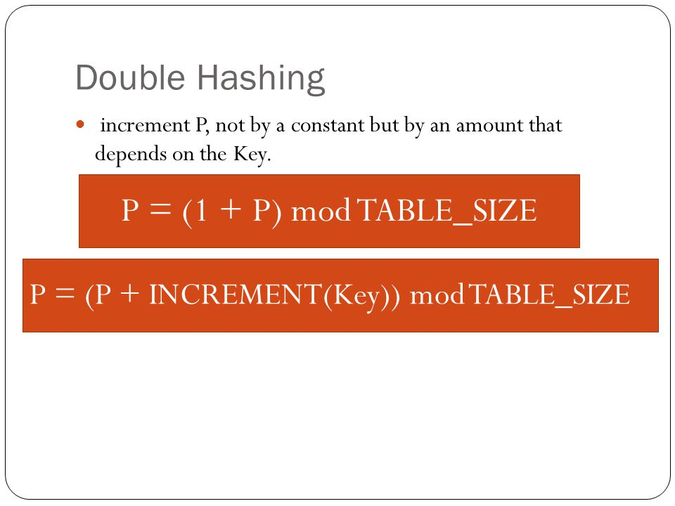 Double Hashing P = (1 + P) mod TABLE_SIZE
