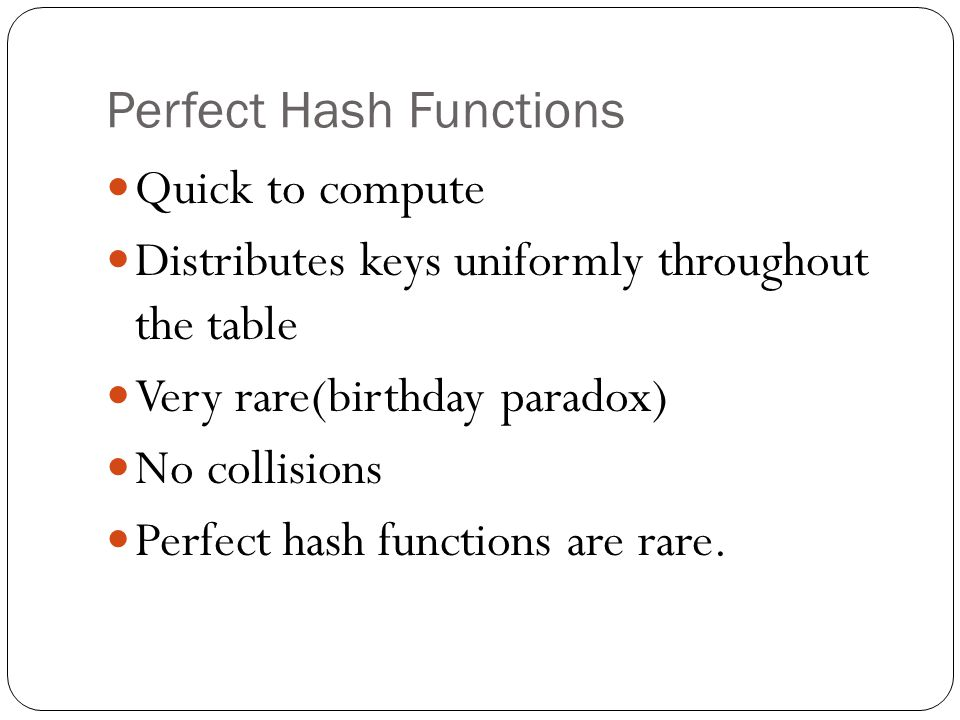 Perfect Hash Functions