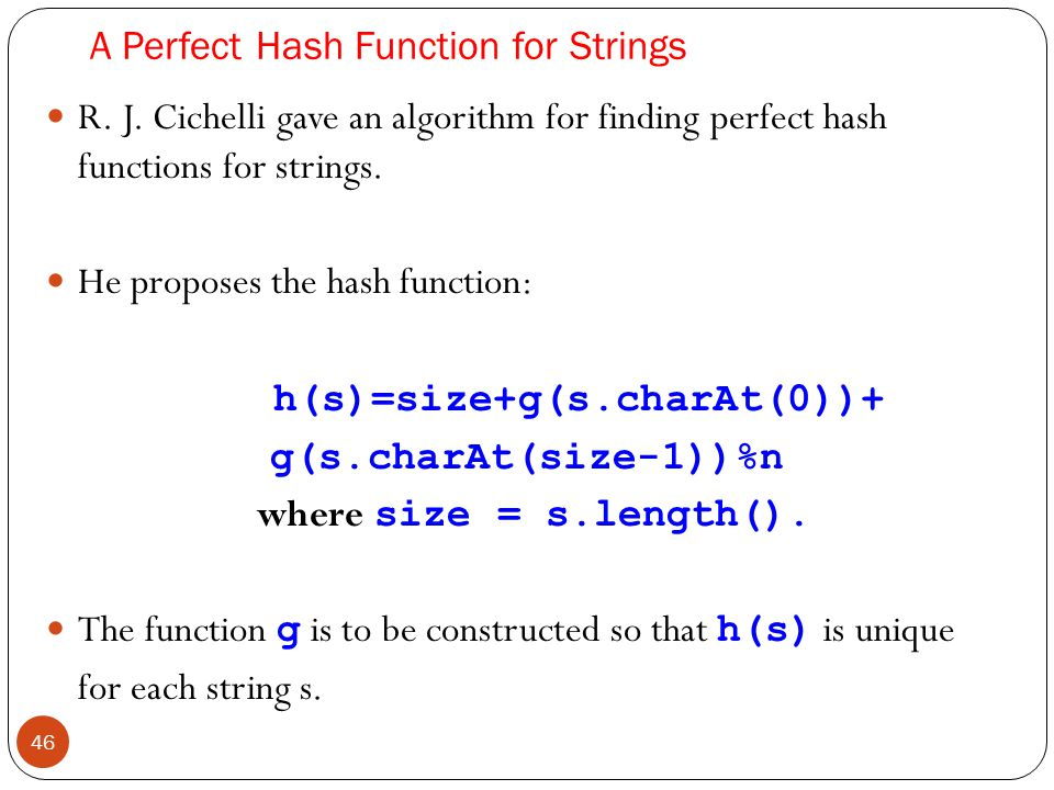 A Perfect Hash Function for Strings