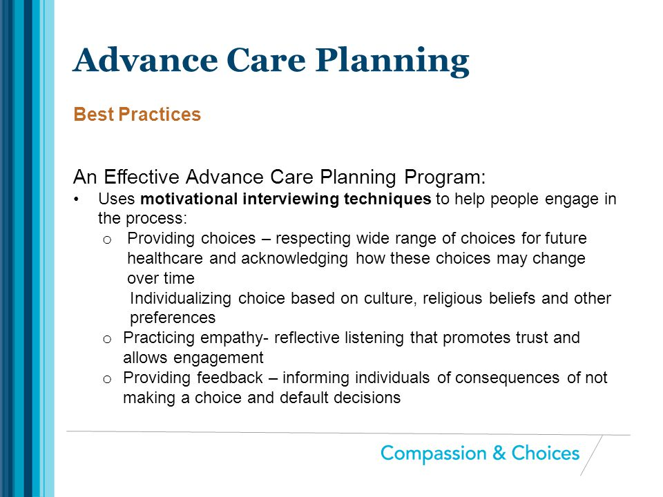 Advance Care Planning An Effective Advance Care Planning Program: