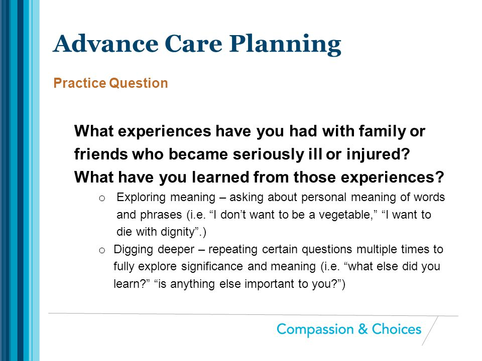 Advance Care Planning Practice Question.