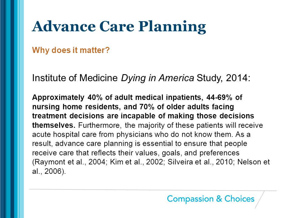 Advance Care Planning Why does it matter Institute of Medicine Dying in America Study, 2014: