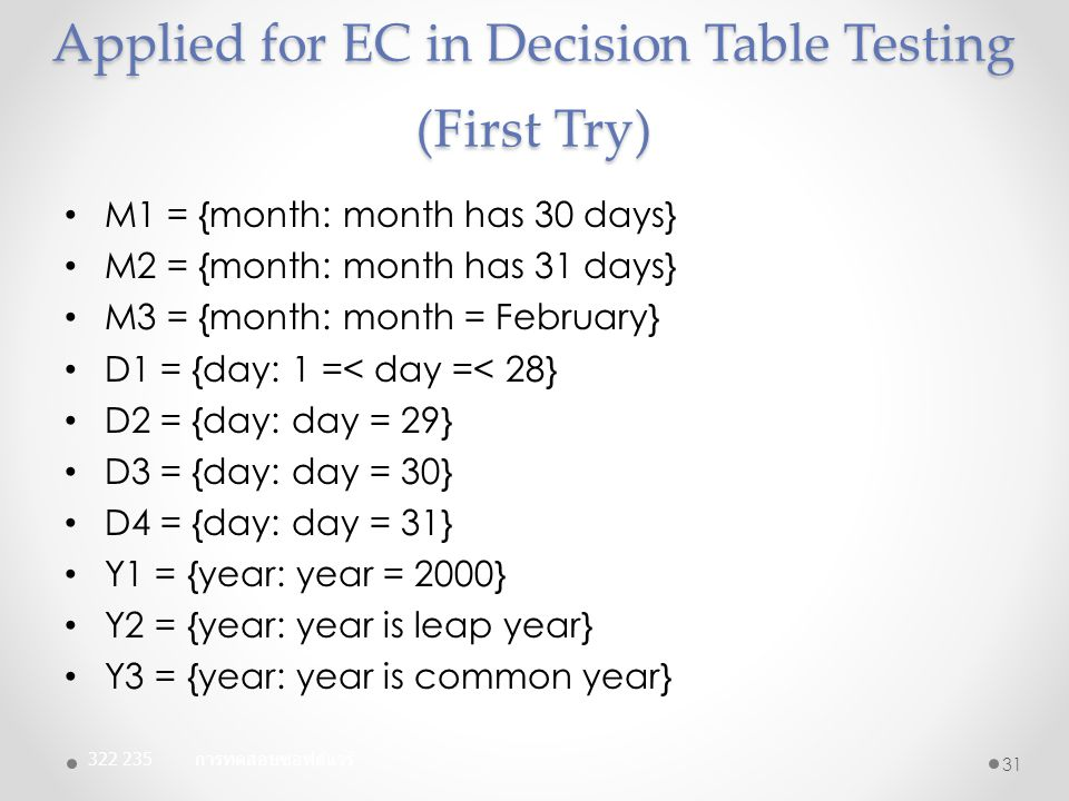 Applied for EC in Decision Table Testing (First Try)