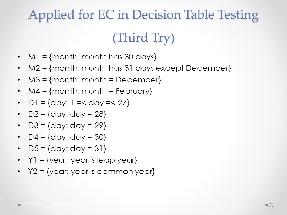 Applied for EC in Decision Table Testing (Third Try)