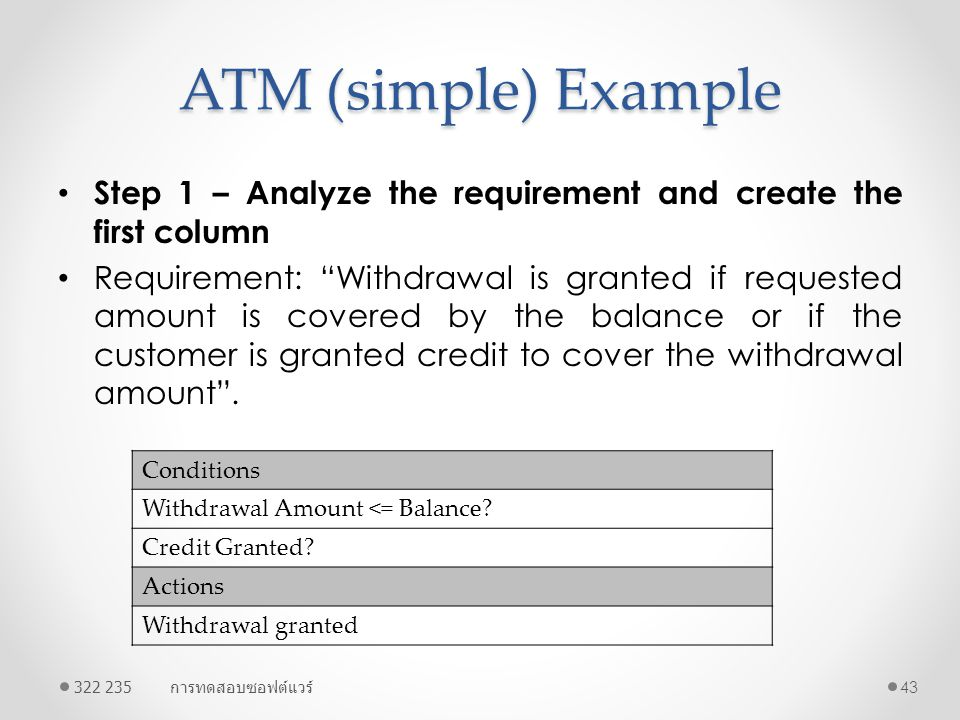 ATM (simple) Example Step 1 – Analyze the requirement and create the first column.